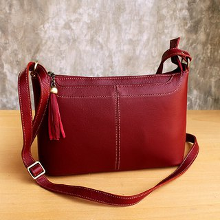 Cross Body Bag - Crackers - Burgundy (Genuine Cow Leather) / 皮 包 / Leather Bag