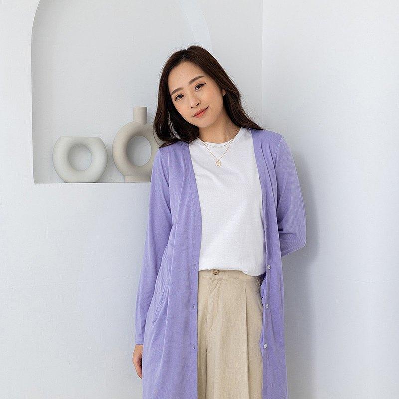 水潤白抗UV保濕長版外套-丁香紫 UV外套 涼感 防曬罩衫