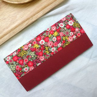 Floral Japanese cloth washed kraft paper clip | long clip wallet