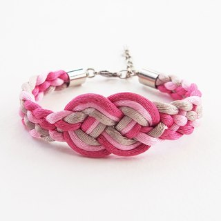 Pink/Light brown infinity braided bracelet