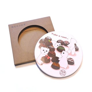 White Bear Ceramic Water Cup Coaster~ Dessert Series~Chocolate White Bear