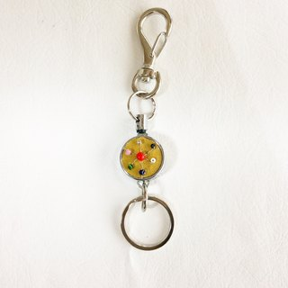 key ring with reel, Czech vintage glass beads  mustard