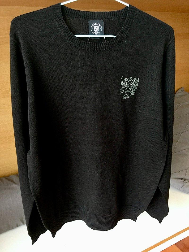 中性 針織套頭上衣 (黑/灰)