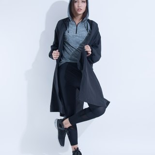 Aine ann / lightweight waistline long windbreaker - black