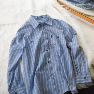 River Water Mountain - Wakayama Ice Blue Classical Straight Striped Antique Cotton Shirt Top Jacket