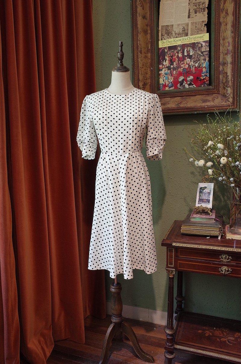 vintage dress波點連衣裙古著