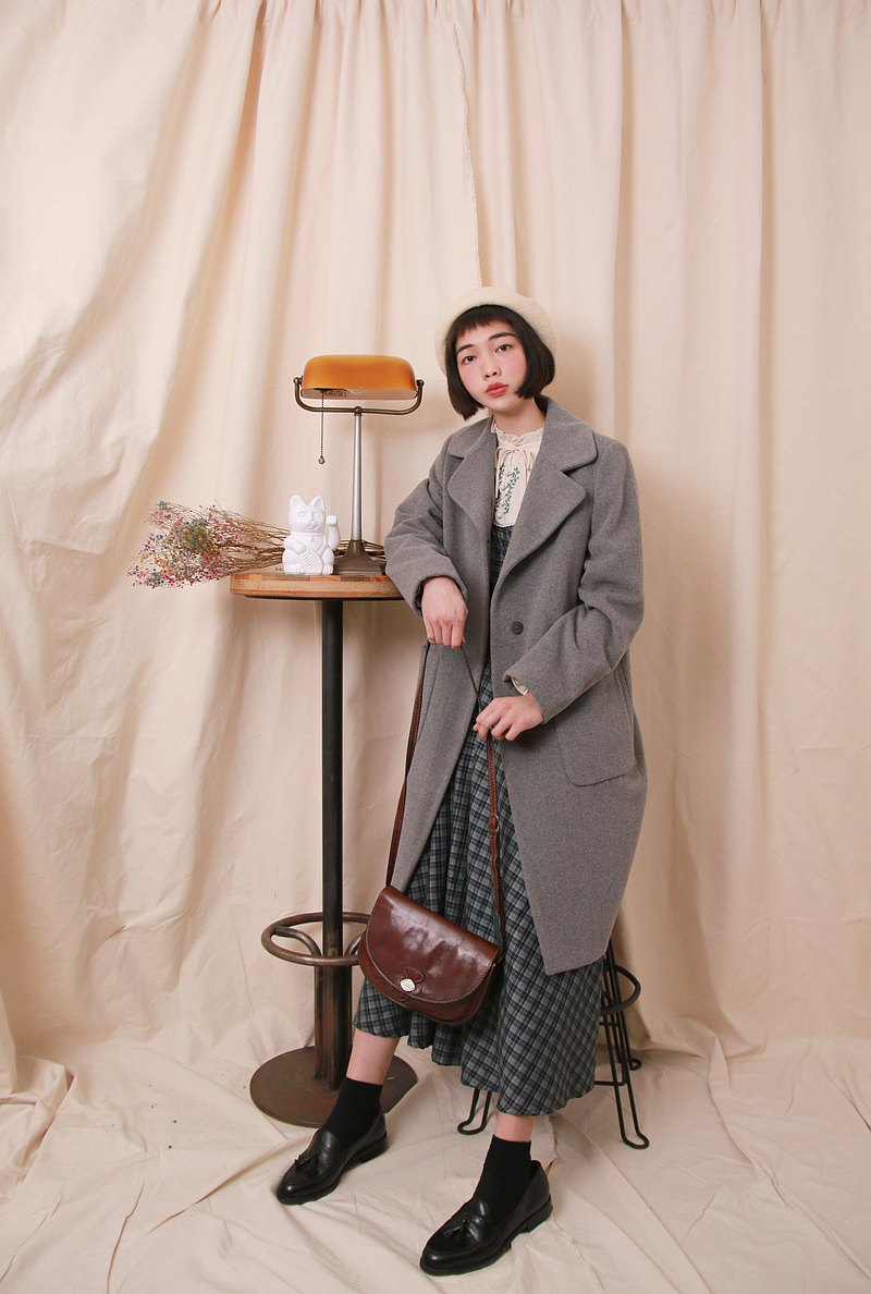 Back to Green:: 羊毛大衣 SISLEY 大象灰 vintage overcoat