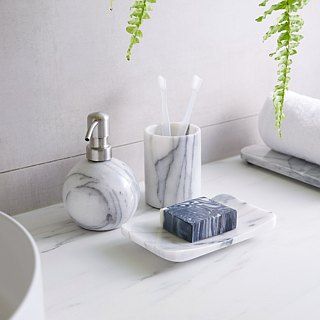 Marble bathroom set with lotion jar soap dish mug
