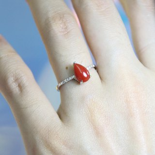Natural red coral drop ring sv925
