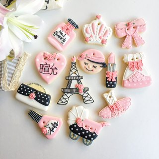 Ginseng salted sugar cookies • Paris female baby hand-painted creative design gift box 8 to 12 groups**Please contact us before ordering schedule**