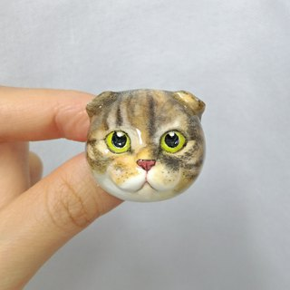 3D Print ~ Hand-Painted Scottish Fold Cat Brooch