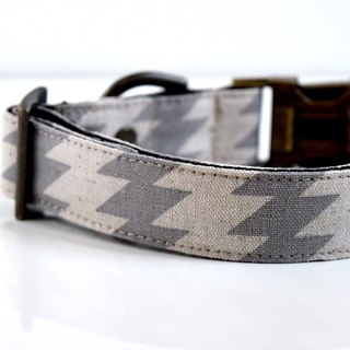 Cotton Linen Zig Zag Dog Collar - Gray- Antique Brass