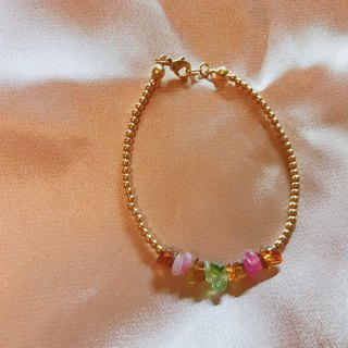 Reversion_ Pink and Green Tourmaline Brass Bracelet