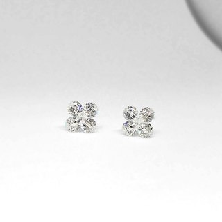 S Lee-925 silver hand made four round diamond ear / earrings