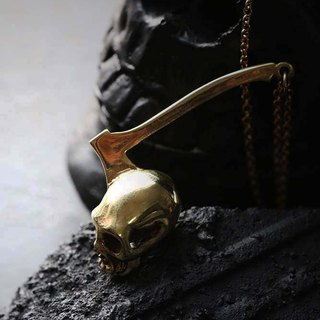 Axe on Skull Charm Necklace - Original design and made by Defy.