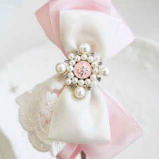 Pink bow lace headband