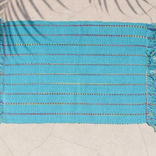 Feel woven table mat / placemat / woven placemat / Boho ethnic style meal mat - blue sky rainbow stripes