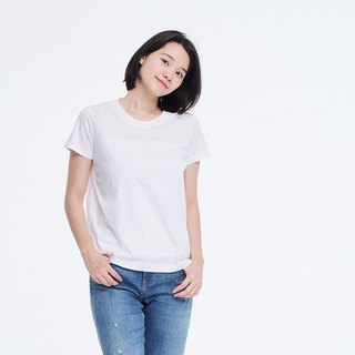Mercerized Cotton Fabric Short Sleeves crew neck T-shirt Top White