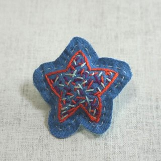 "Hand embroidery broach ""star"""