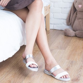 Sandal Silver Two tone Comfort Rubber Sole Shoe