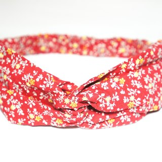 Red small floral / handmade elastic hair band