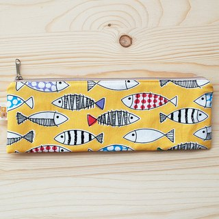 Color fish zipper wide chopsticks bag _ yellow