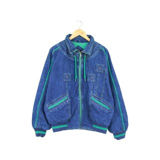 Back to Green :: outing ultramarine blue sporty necking ★ Unisex wear ★ vintage denim (DJ-12)