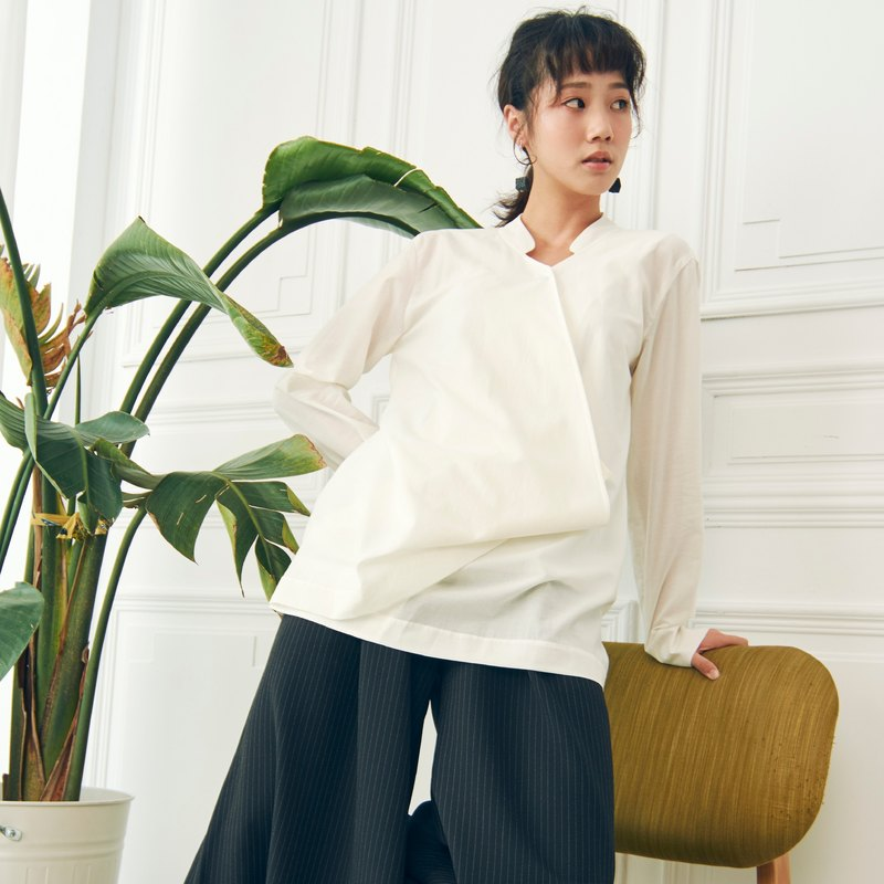 長袖微薄設計感襯衫 - 白