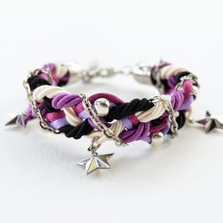 Purple Cream Black braided bracelet with silver color materials and stars