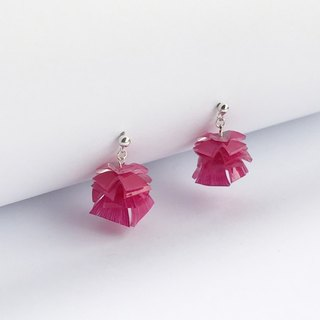 Magenta level sterling silver earrings
