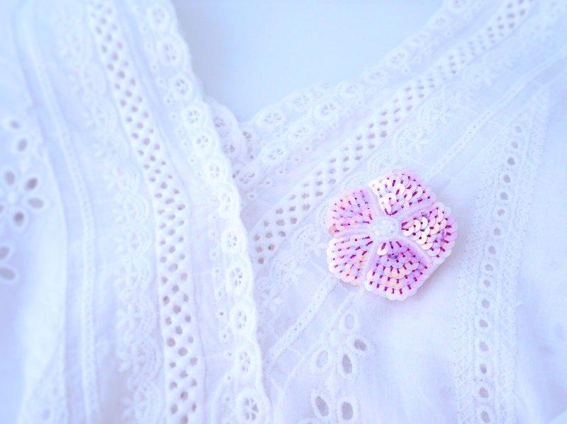 [刺繡]牽牛花胸針粉紅色