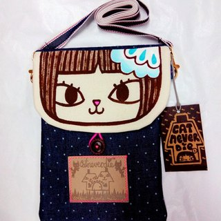Original brand beauty cat hand-painted cotton protection multi-purpose phone bag / document bag / storage bag / shoulder bag