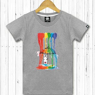 STATELYWORK Rainbow Rain Rabbit - Women's Black T