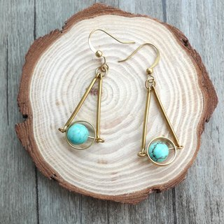 Misssheep- BN08 guardian planet brass turquoise earrings (ear clips / ear clips)