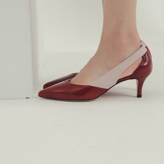 Streamline cutting hollow leather low heel red