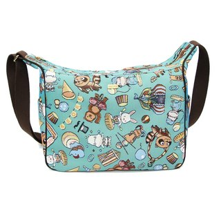 Happy circus texture painting Ti cat ears messenger bag blue coffee -REORE