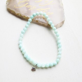 Rosy Garden lake green shell beads bracelet