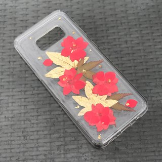 Samsung Galaxy S7 Edge Dry Pressed Flowers Case Red Flower case 004