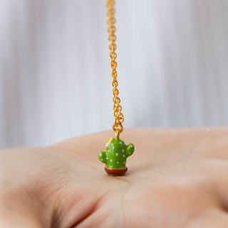 Cacti Necklace in Brass with 24k Yellow Gold plating