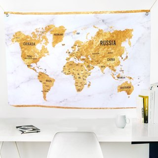 World map hanging cloth golden marble