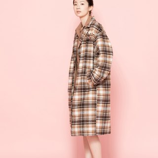 chaton wool plaid long coat 122F399