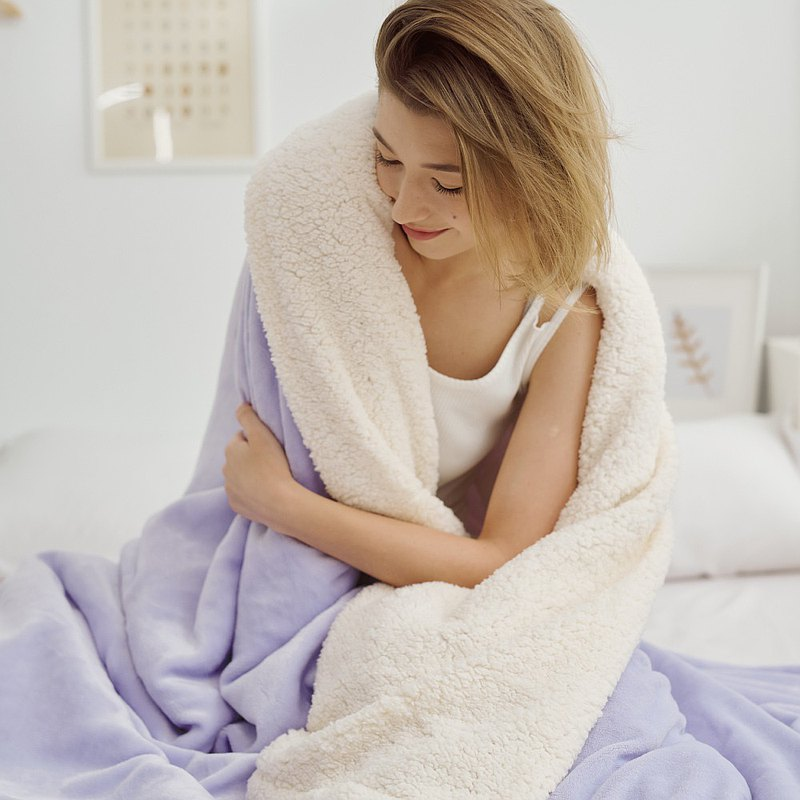 [Christmas gift] warm you warm me lamb blanket-lavender