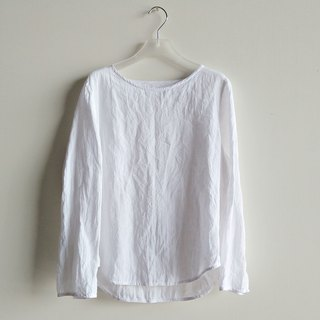Shoulder long sleeve shirt washed linen white