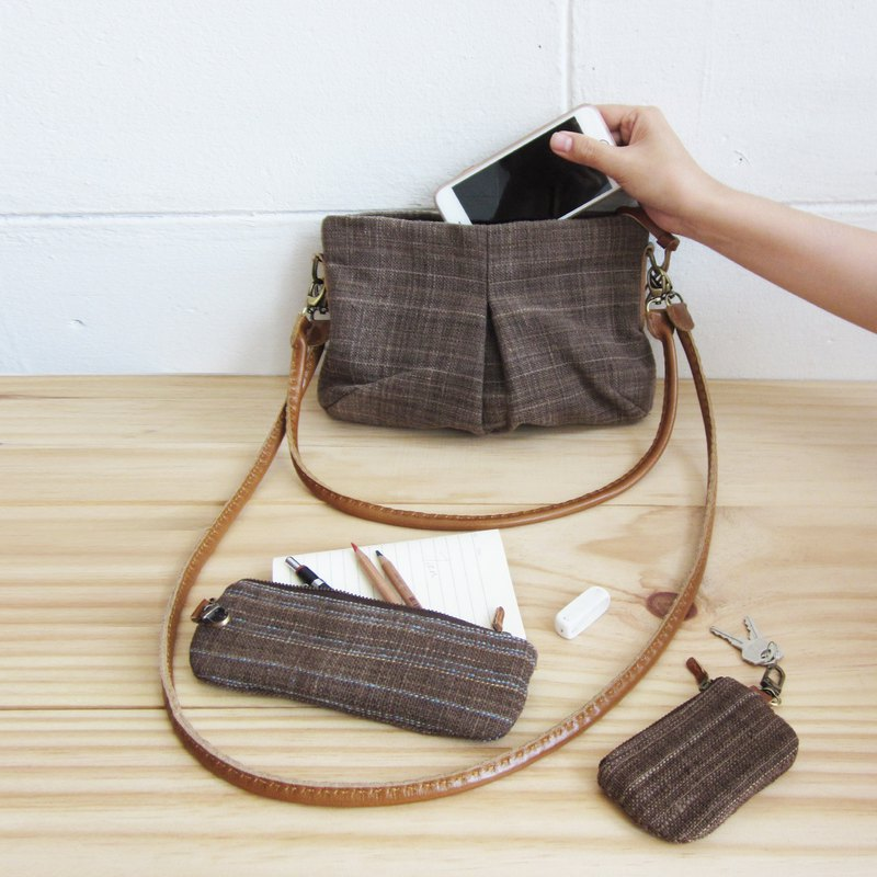 Brown Color Cross-body and Shoulder Mini Skirt Bags Size S Botanical Dyed Cotton