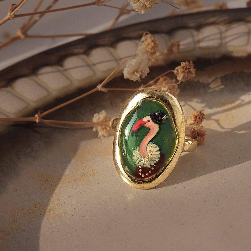 紅鶴紳士戒指-客製化戒指 寵物肖像畫 寵物客製化飾品