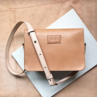Retro square bag _ double compartment _ invisible magnetic buckle large opening _ light brown