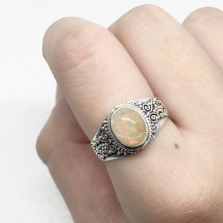 Opal 925 Sterling Silver Heavy Elegant Style Ring Nepal Handmade Mosaic (Style 2)