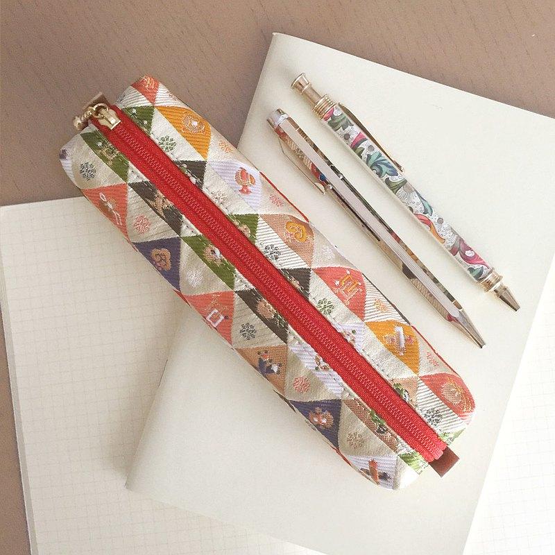"""日本傳統圖案筆盒,和服""""錦緞"""""""