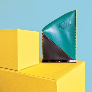 Sonniewing Rectangle Color Block Leather Zip Pouch