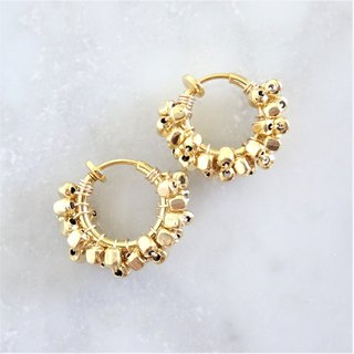 pti*gold square metal wrapped hoop earring耳夾式
